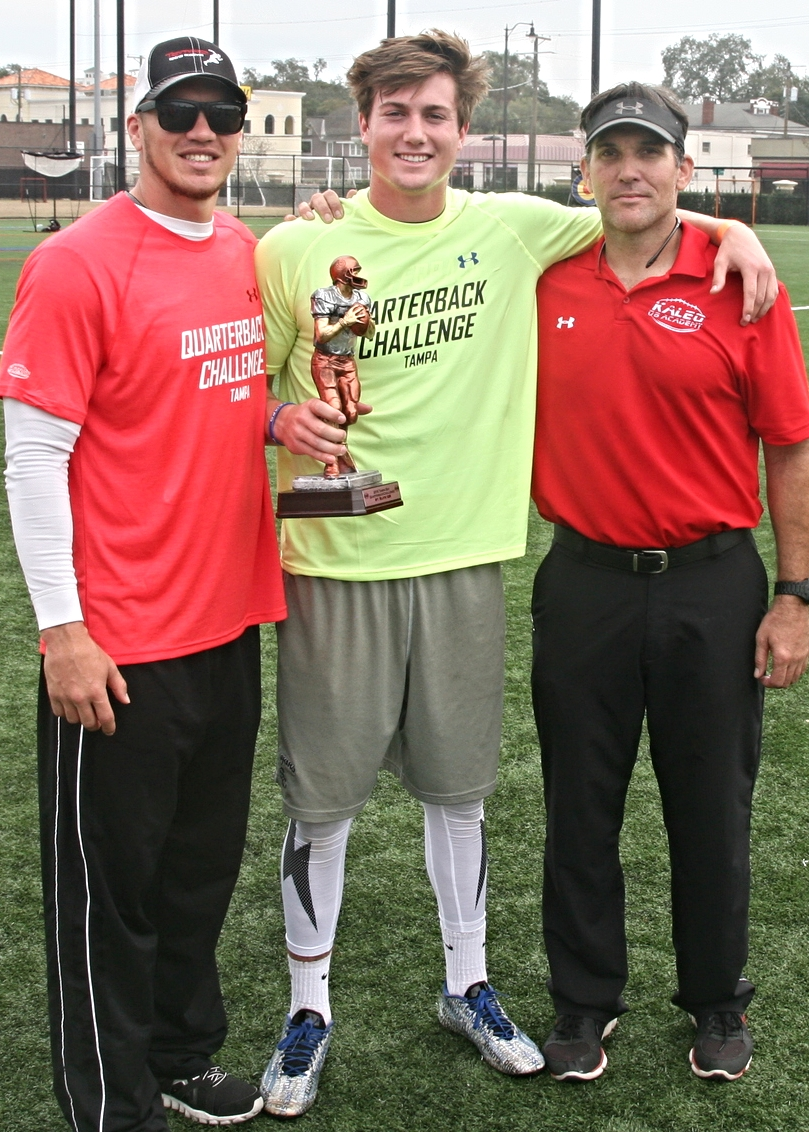 "2016 Tampa QB Challenge ""Top Passer"" and Jefferson QB Cade Weldon with Coach John Kaleo and Coach Robert Marve"