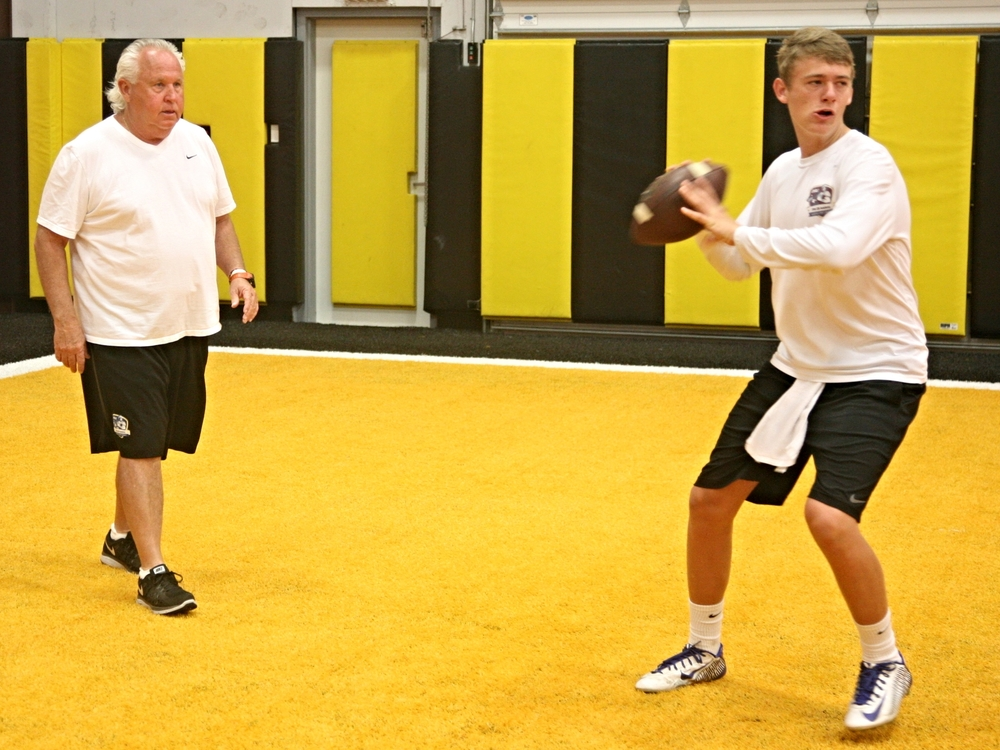 2017 QB Mac Jones - University of Kentucky commit - with QB Coach Joe Dickinson (Photo Courtesy of DeBartolo Sports)