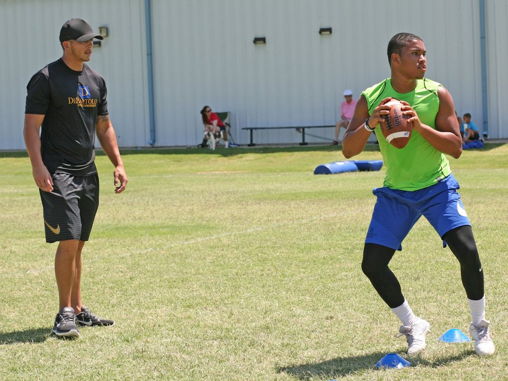 Coach Daxx Garman with Class of 2019 QB Preston Colbert