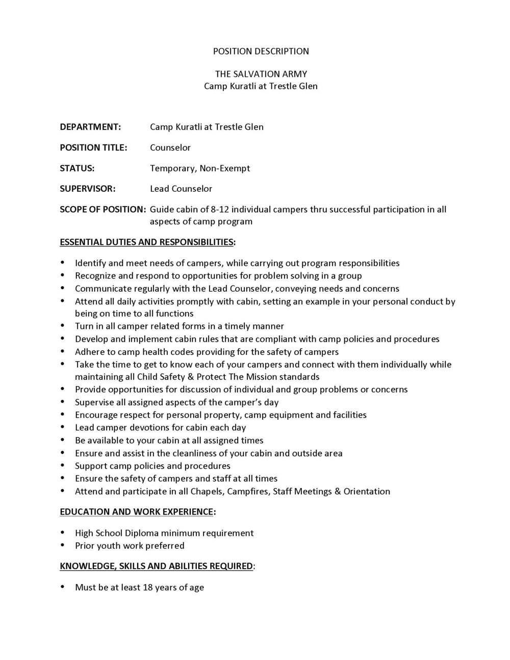 2016 Summer Job Descriptions