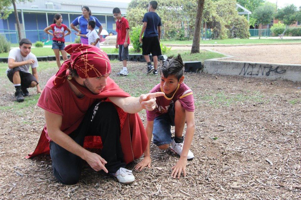 Superhero Jereme Sanders, of Parkour San Antonio, pointing the way!