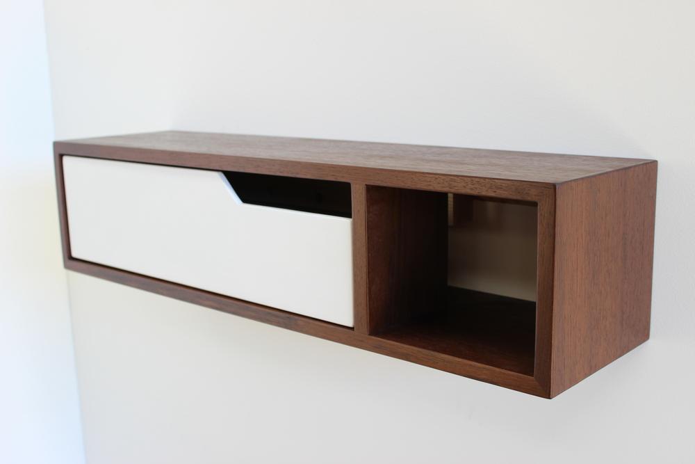 Walnut Floating Console with Shelf