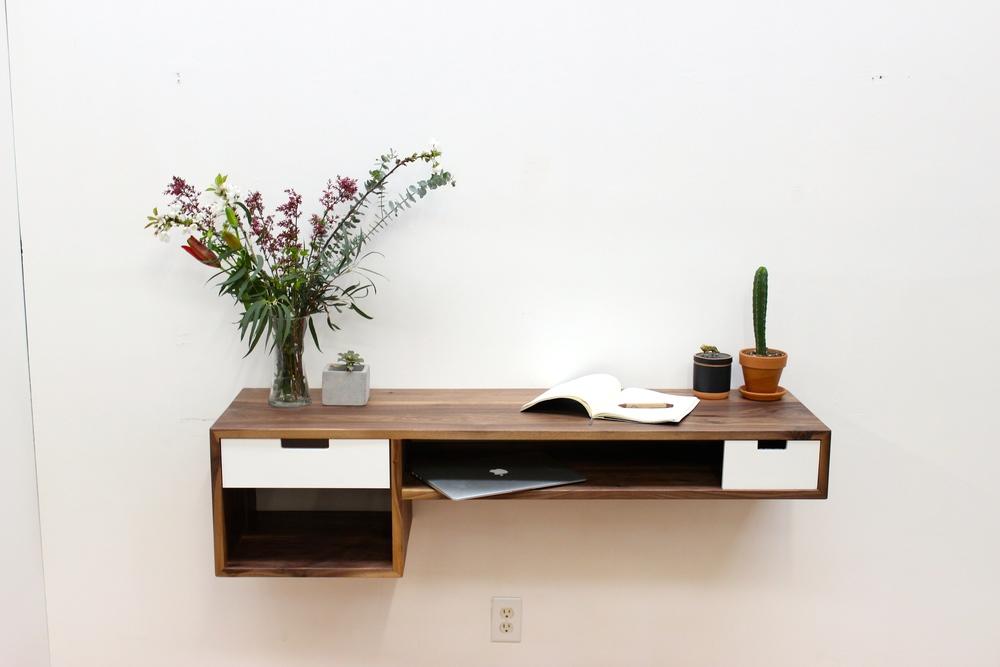Modern Floating Walnut Desk