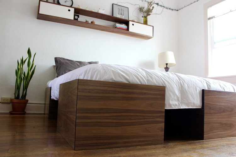 modern walnut bed frame queen size