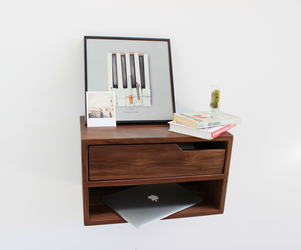 Floating nightstand finest mount a floating nightstand for Floating nightstand