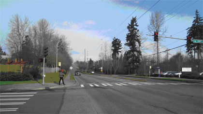 Federal Way – This intersection in Federal Way allows for pedestrian crossings between the two bus stops. The sidewalks provide connection to the adjacent residential and commercial area for pedestrians and transit riders. The SvR team is looking at opporunties to make similar improvements at other intersections. Photo: Alta Planning + Design