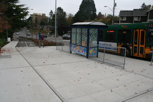 The new frontage of Children's includes a separated shared-use path and is well-served by transit.