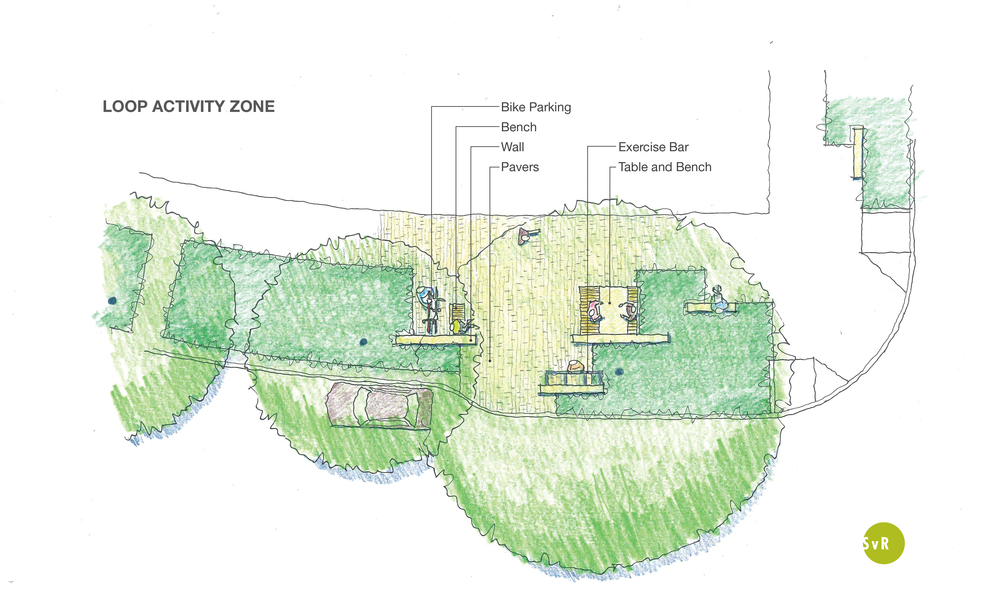 Located at intersections and along a continuous loop, activity zoneslike the one shown in this schematic plan, will provide residents with opportunities to recreate while exploring their neighborhood and contributing to vibrant street life.