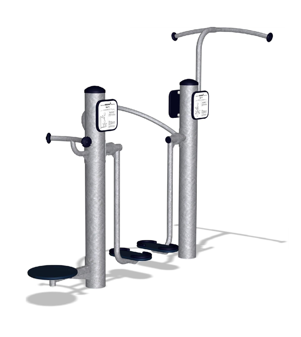 Activity stations contain fitness equipment such as Kompan's Complete Body Toner.