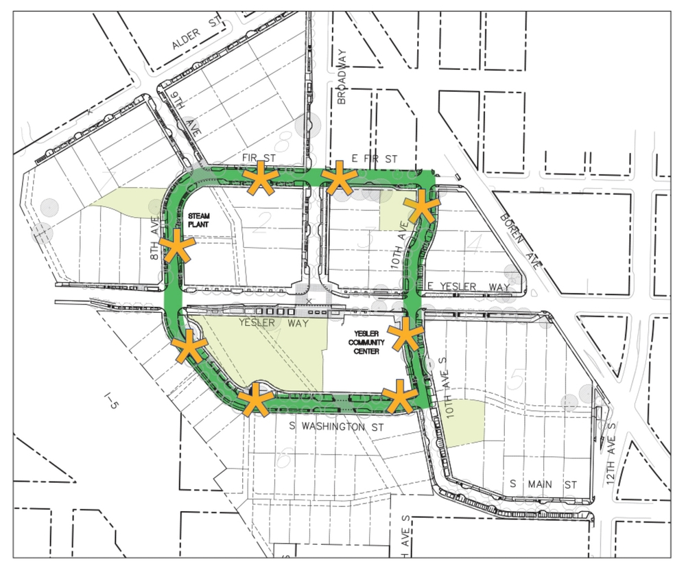 Eight activity zones are identified in gold stars along the 1/2-mile Green Street Loop (in green) at Yesler Terrace.