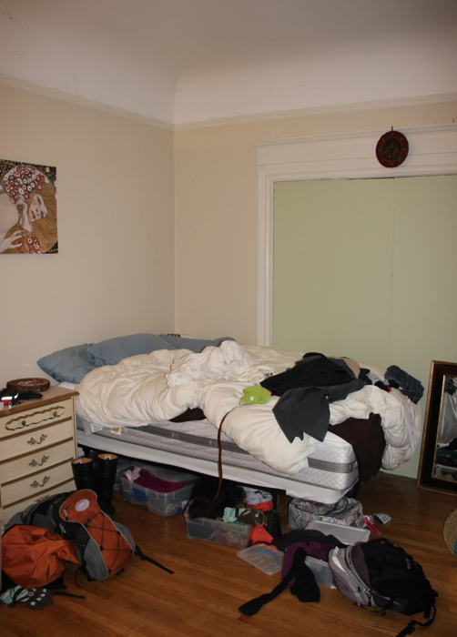 Before: Always on the go, Kira's belongings and furniture were haphazardly placed in her bedroom, creating a sense of chaos and discord rather than relaxation or intimacy.