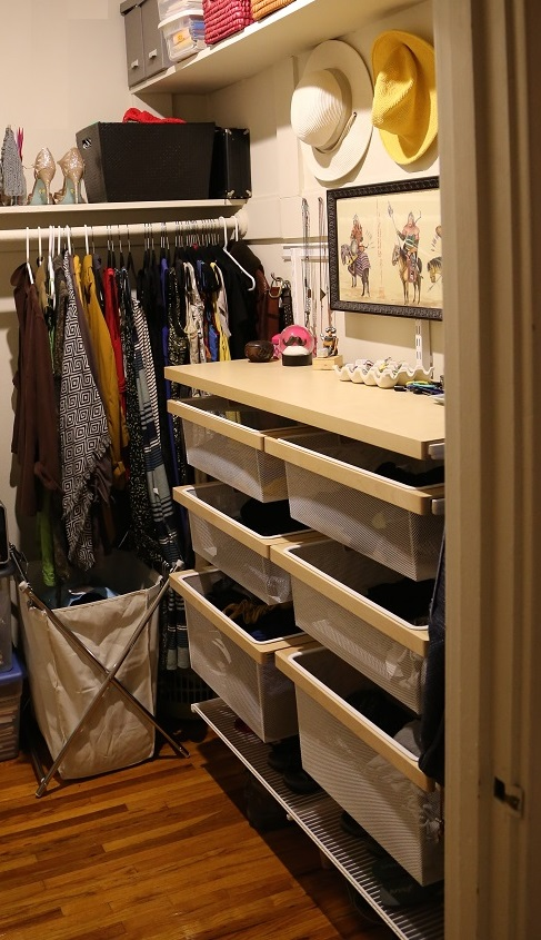 ... We Determined That A Custom Elfa Storage System Would Work Best Here.  That Way, We Could Use Half The Closet For Clothing And The Other ...