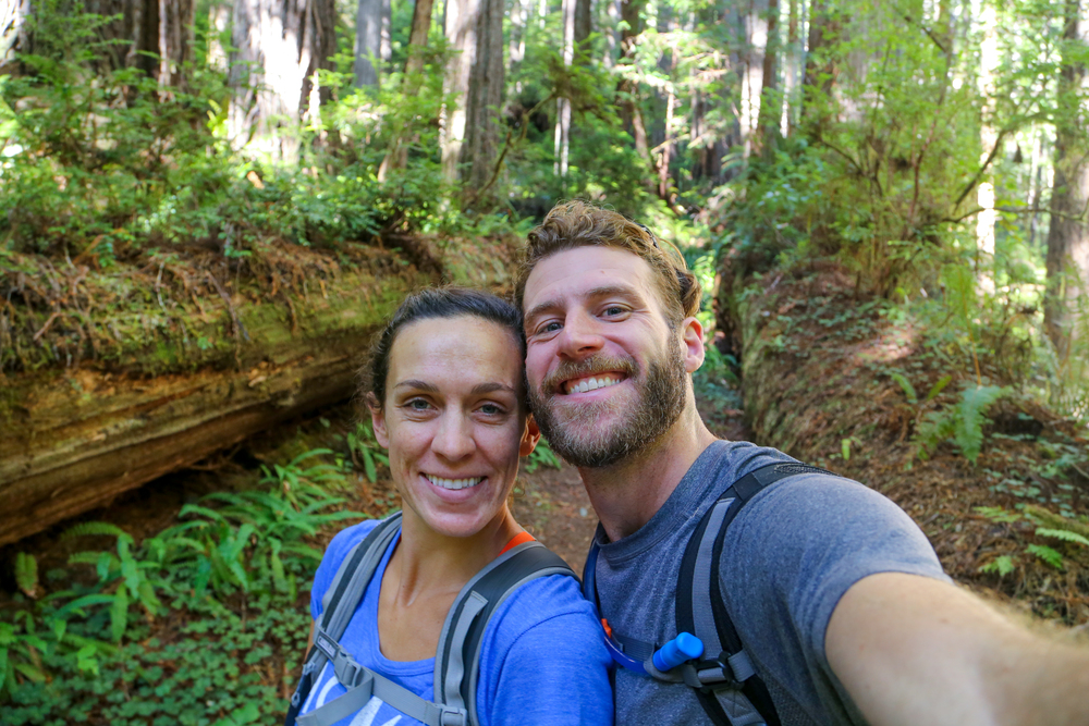 Not the most flattering angle, but damn are we happy to be in the redwoods!