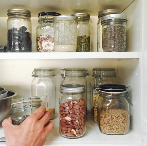A peek inside my small pantry.