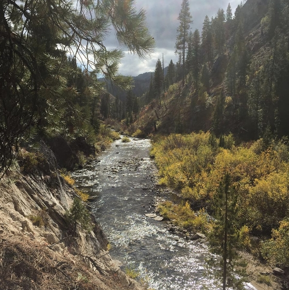 On a hike to fly fish in one of Idaho's many rivers...