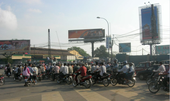 Typical traffic in Phnom Penh, Cambodia in 2007.