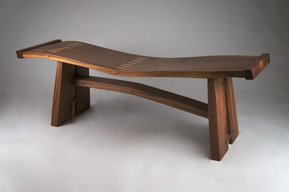 Wave Bench.  Double curve, black walnut.