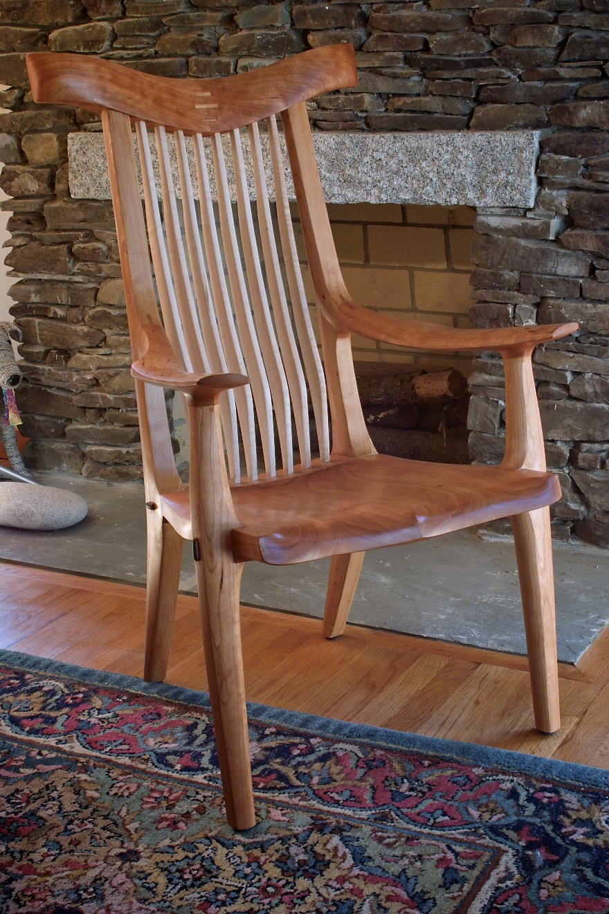 PrettyBoy Chair.  Cherry with maple spindles and walnut pegs.