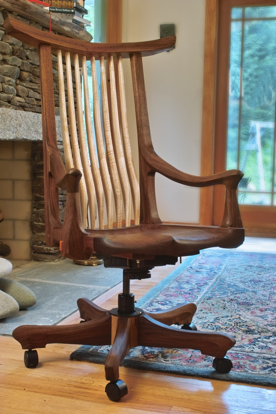 Tucked Arm Swivel. narrow crest black walnut with maple spindles