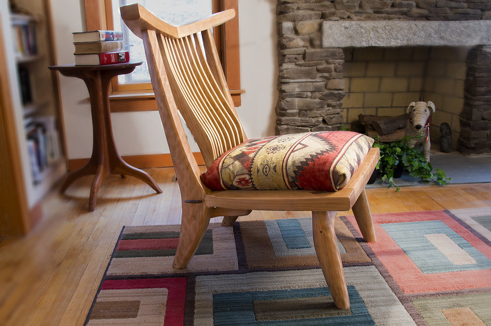 Santa Fe Chair in Cherry with Cherry spindles. Tapestry fabric on cushion inset seat.