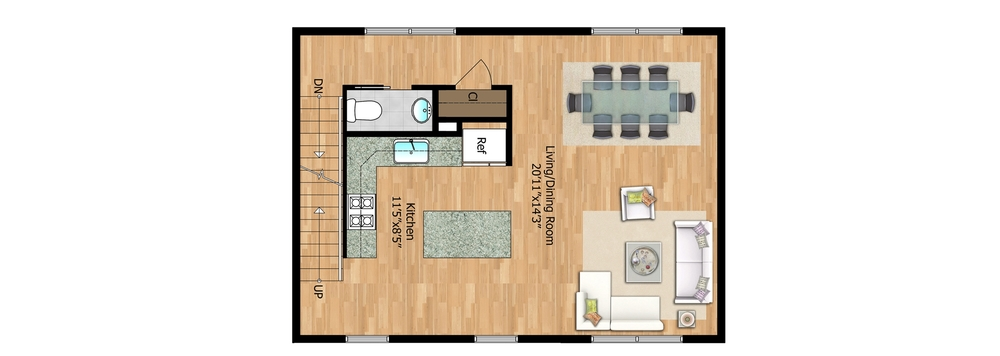 2nd Floor - Unit 2 Living Space
