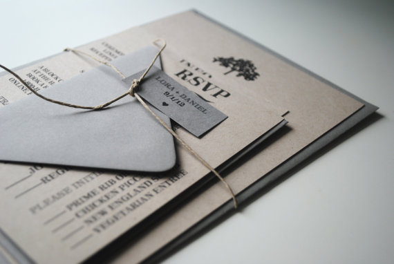 Wedding Invitations + Rsvp Postcards: Woodland Collection (SAMPLE)
