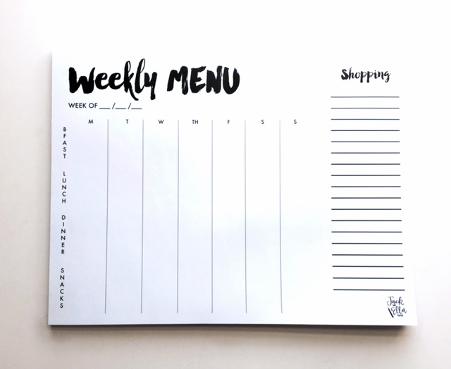 Weekly meal planner notepad with tear-off market list.