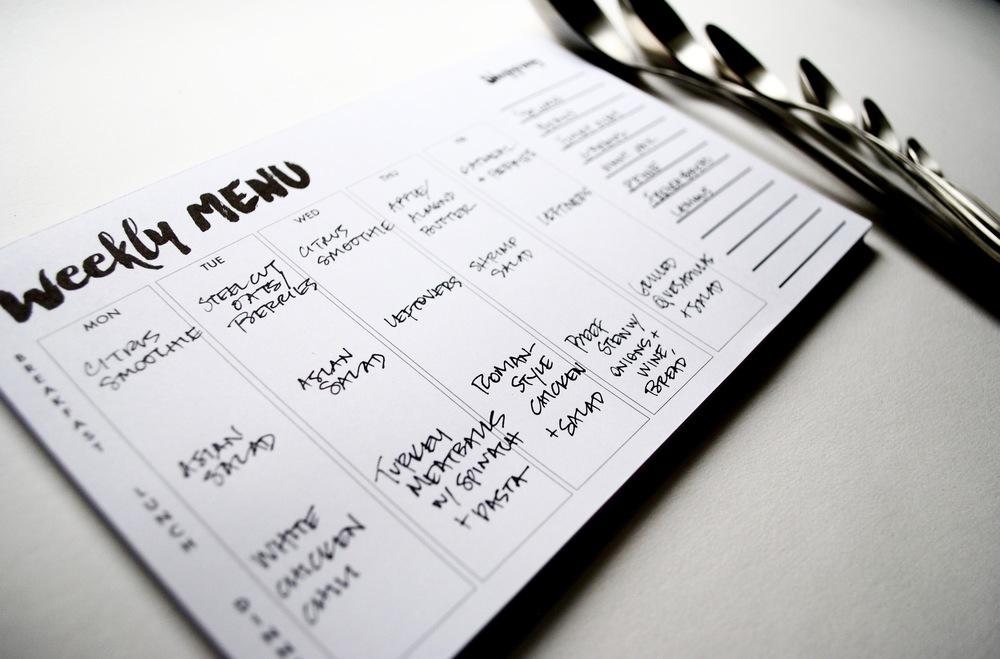 jack + ella paper menu planner notepad
