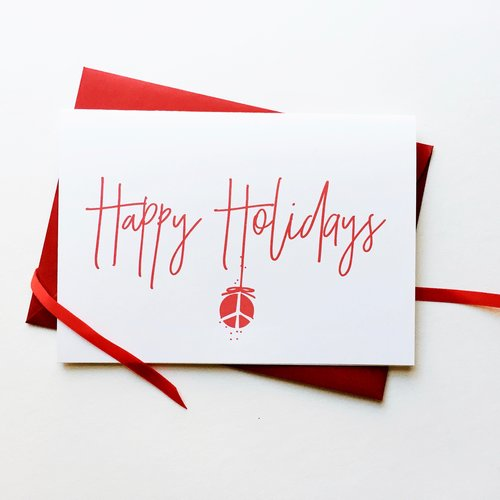 Happy holidays peace ornament greeting cards set of 8 corporate happy holidays peace ornament greeting cards set of 8 corporate holiday customizable recycled business christmas cards colourmoves
