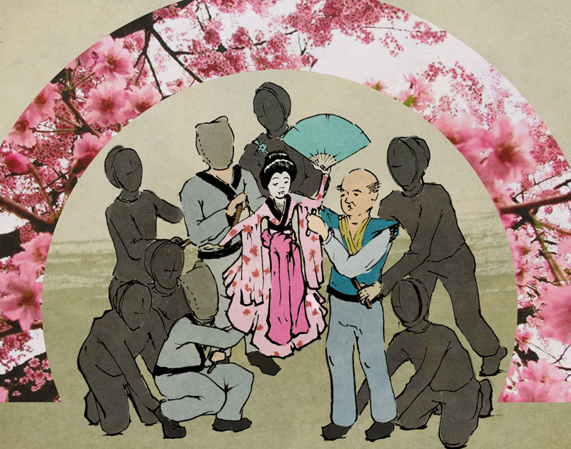 Illustrated here is a scene in which the father and his two sons perform with the puppet replica of their deceased mother. The figures in black represent the human puppeteers controlling the father and son puppets. The circular proscenium pictured will be a freestanding scenic unit used as a projection surface. Illustration by Allison Pottasch.