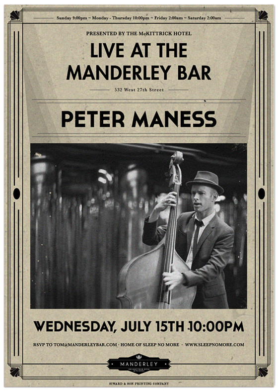 peter and the master keys play live jazz and blues at the mckittrick hotel's manderley bar