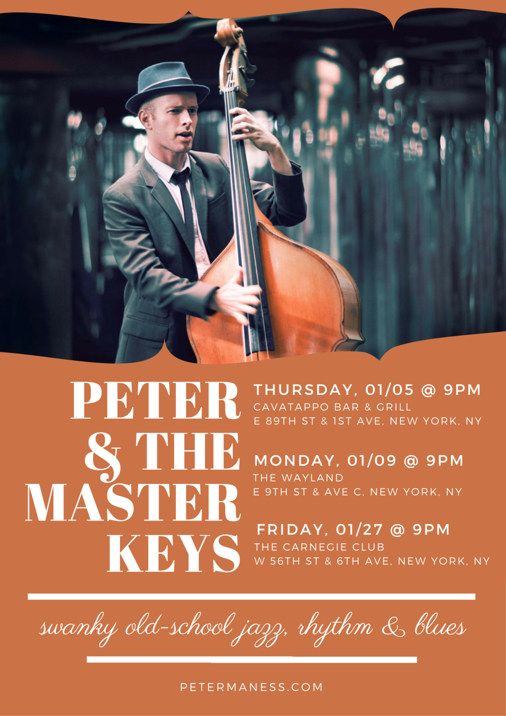 peter & the master keys january jazz and blues gigs in new york city