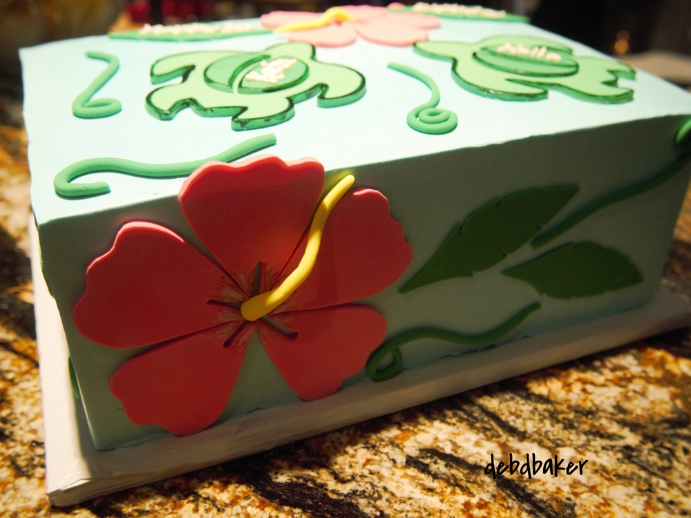 Hibiscus & Twin Sea Turtles Cake