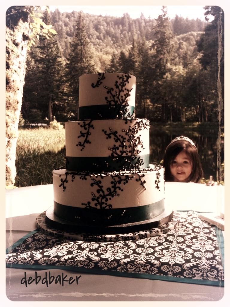 A Wedding Cake Outdoors