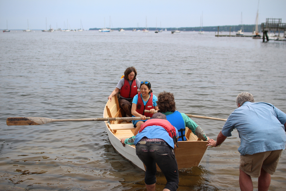 Week 10. At the test launch, with my friend  Monica Raymond  and instructor Matt Dirr aboard, the boat stayed bone dry inside and floated beautifully.   Photo courtesy Elizabeth Sherfey