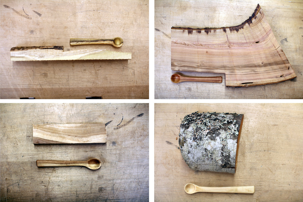 "(Clockwise from top left) Black locust, plum wood, red alder, and apple wood. Each 4"" long."