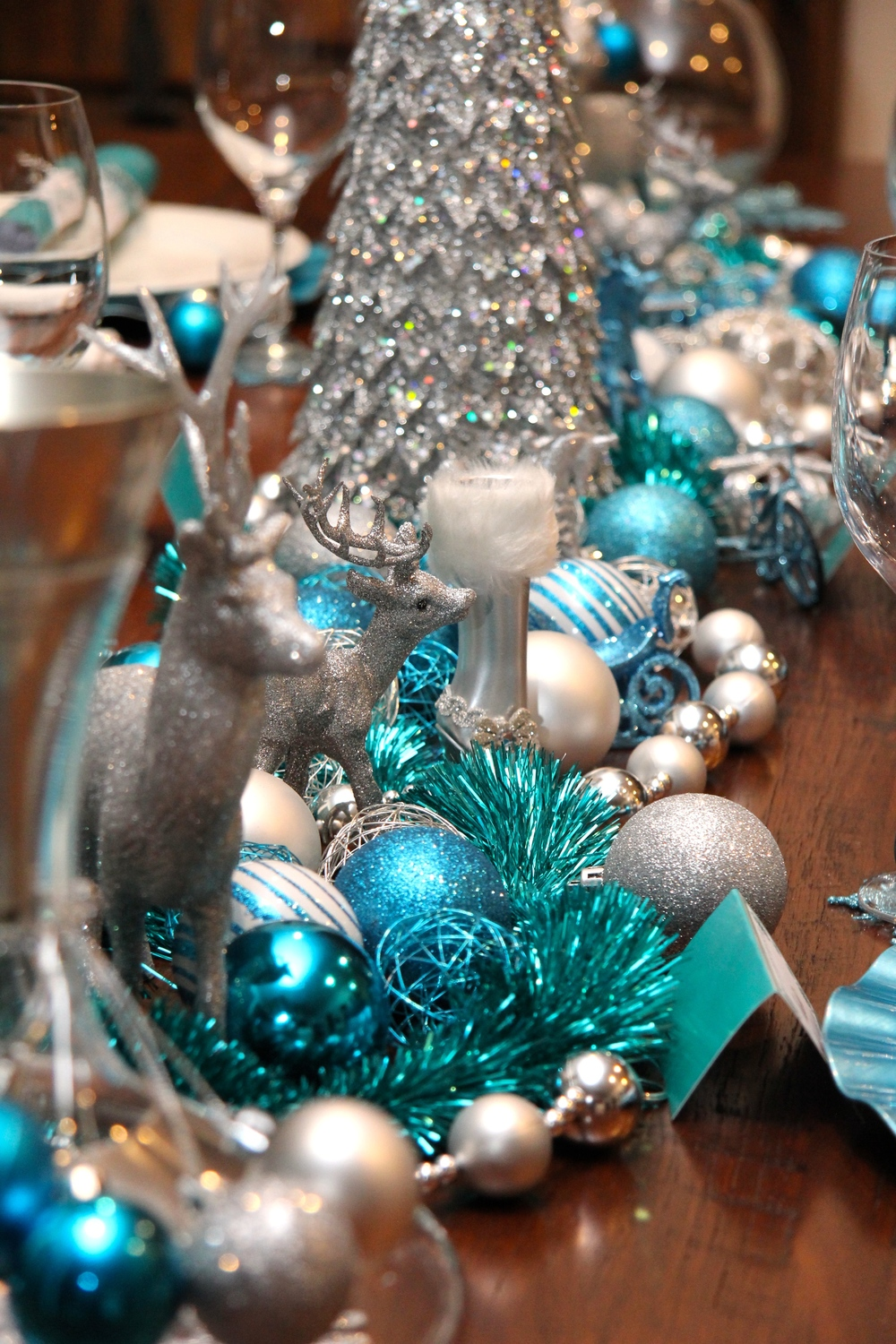 christmas table decorations - Teal And Silver Christmas Decorations