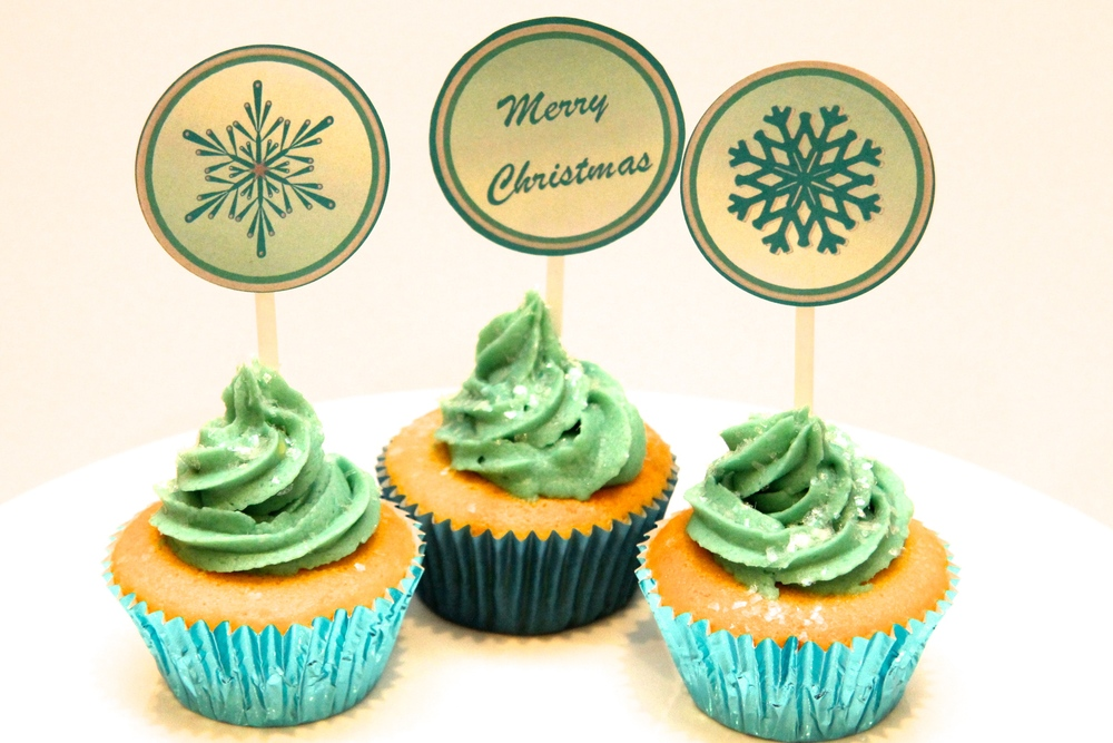 Christmas Cup Cakes - Snow Flakes