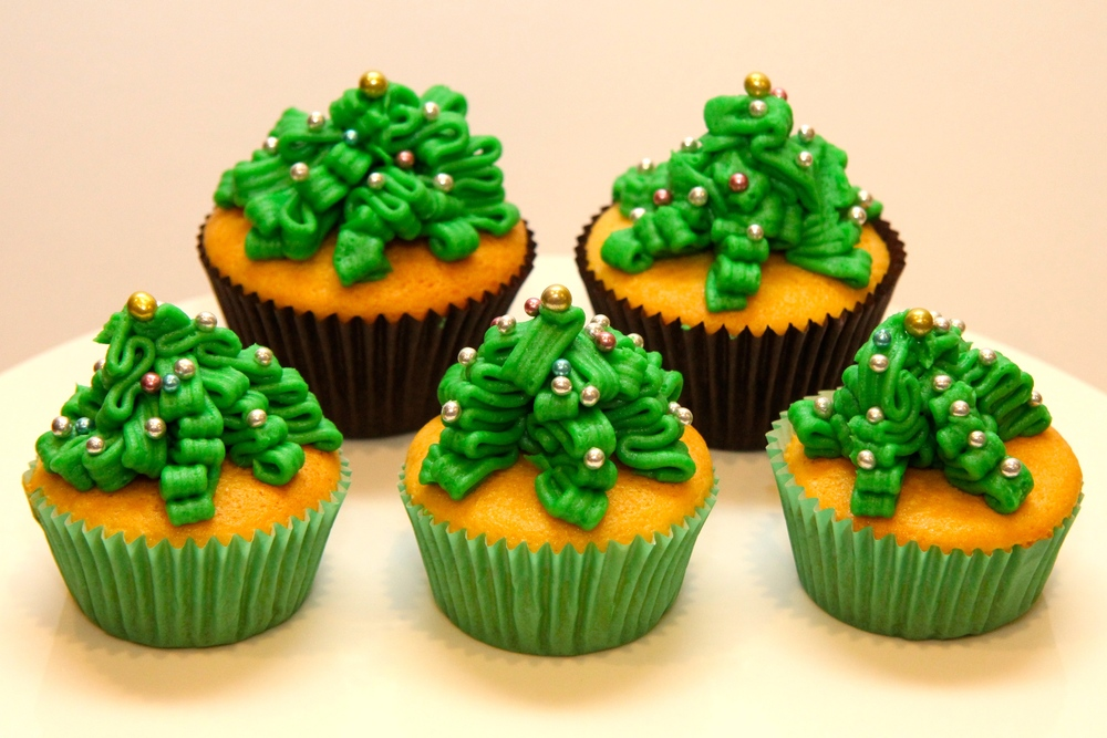Christmas Tree Cup Cakes
