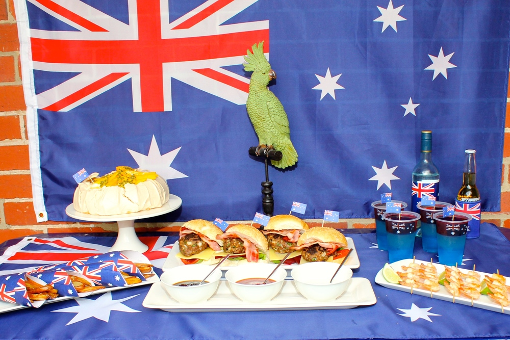 Australia Day Menu with Burgers, Potato Wedges, Prawn and lime Skewers, Pavlova and Jelly..