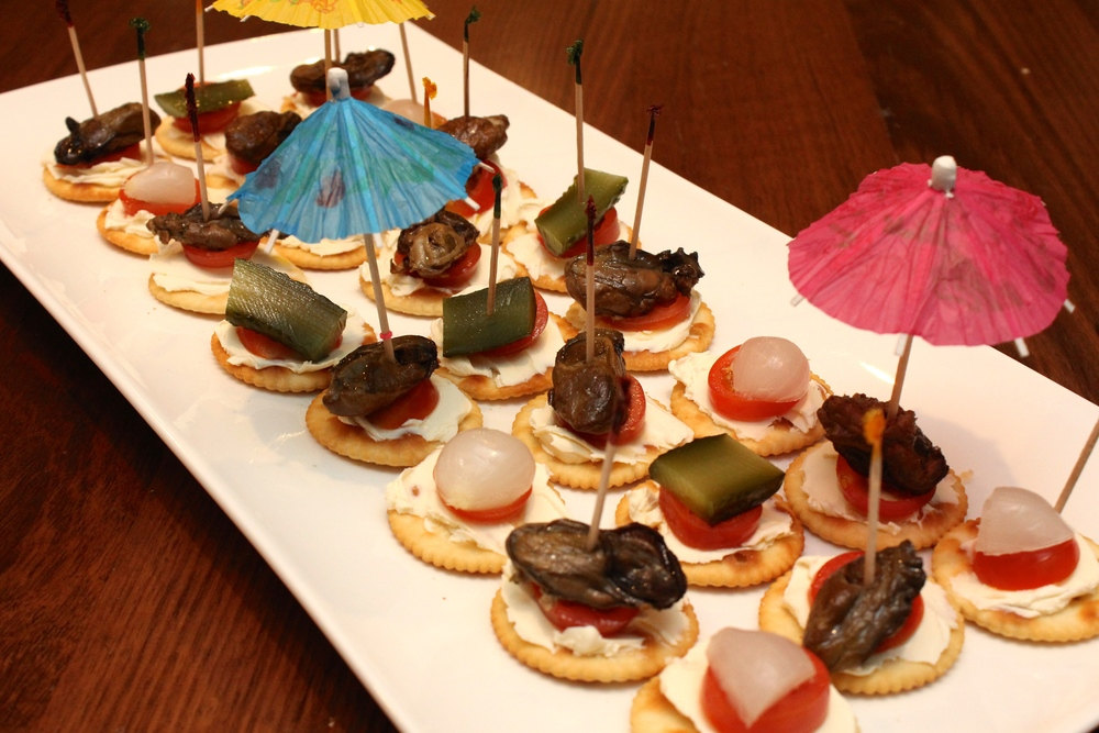 Canapes of Cream Cheese, Tomato, Smoked Oysters, Pickles and Gerkin - Bogan Bingo