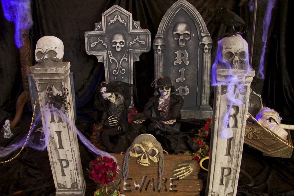 Halloween Indoor Graveyard with Bride and Groom Skeletons