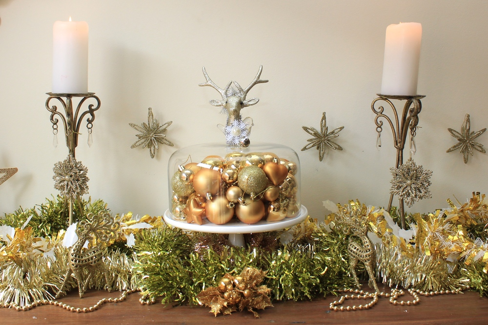 Christmas Gold and White Sideboard