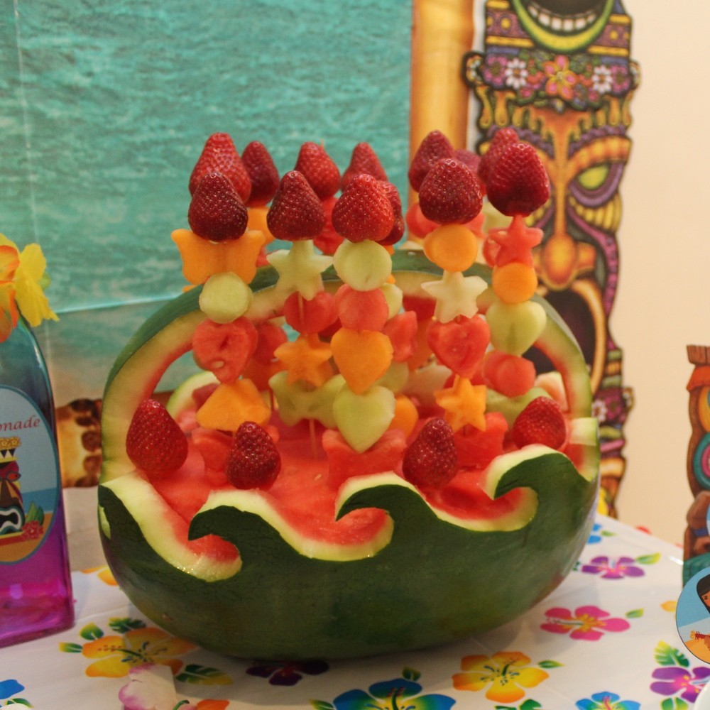Fruit Skewers in a Watermelon Wave basket