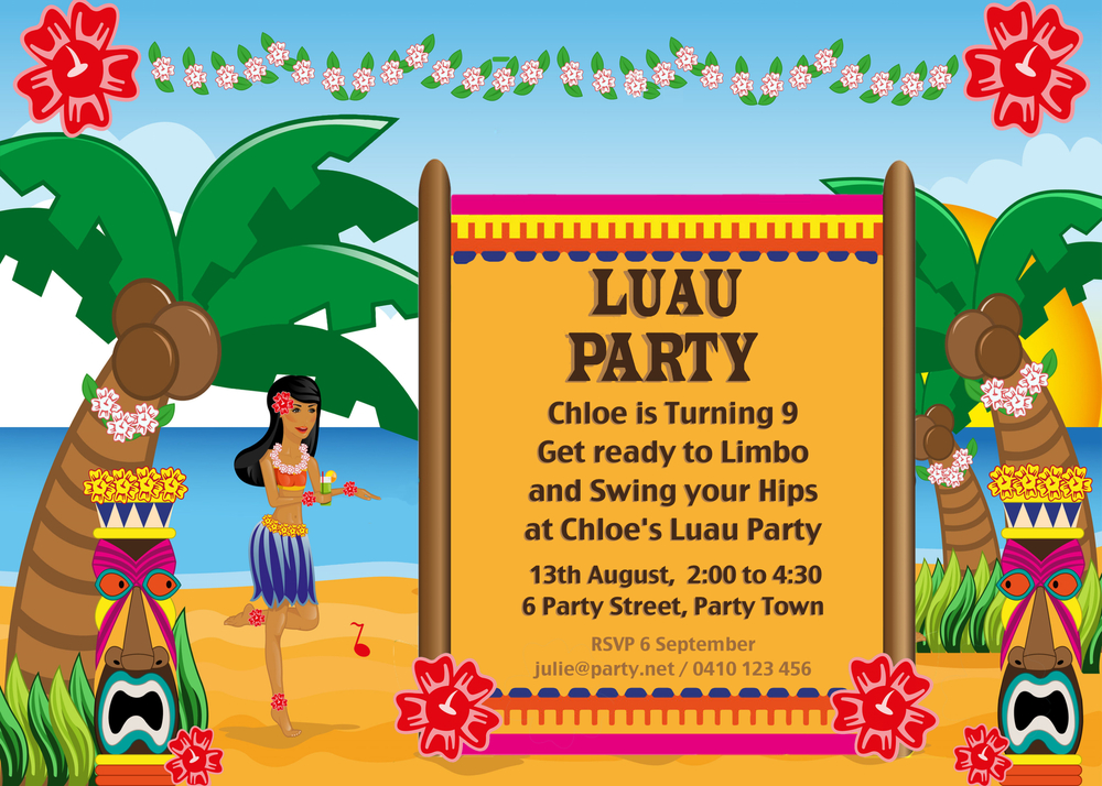 hawaiian luau party with desert table and games — chic party ideas, Birthday invitations