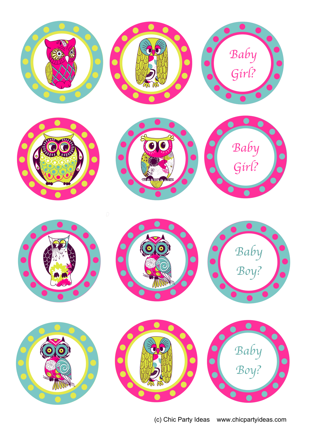 Free Baby Shower Owl Printables