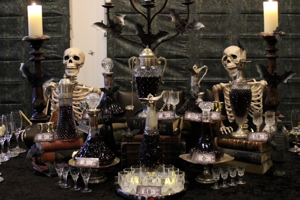 Halloween Vampire Wine Tasting Table Decorations