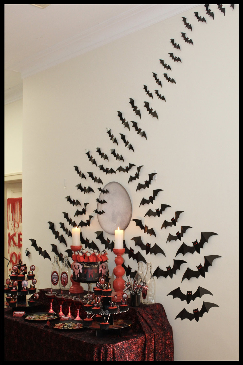 Halloween Dessert Table with Bats - Vampire Party