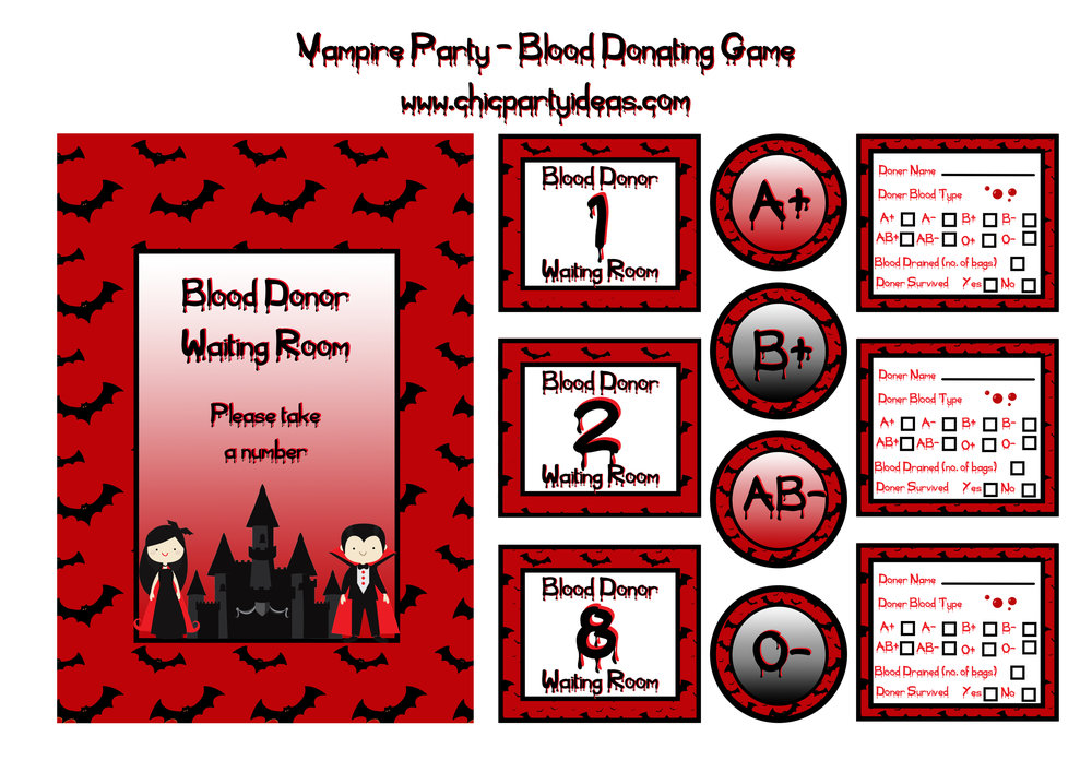 Halloween Vampire Game Printable Set