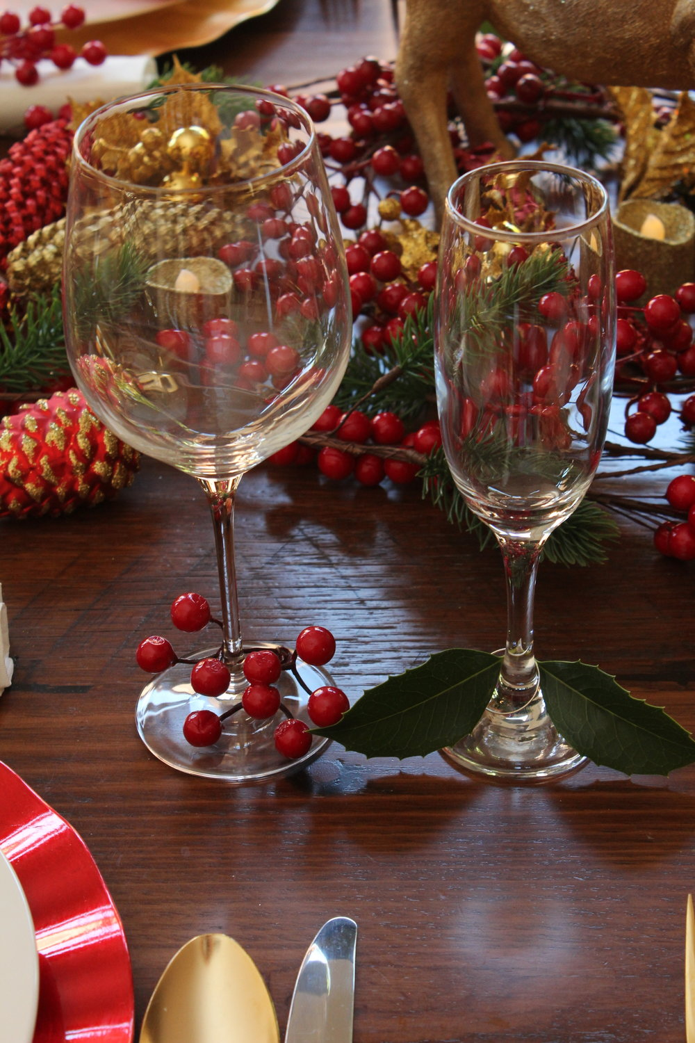 Christmas Stemware with Berries